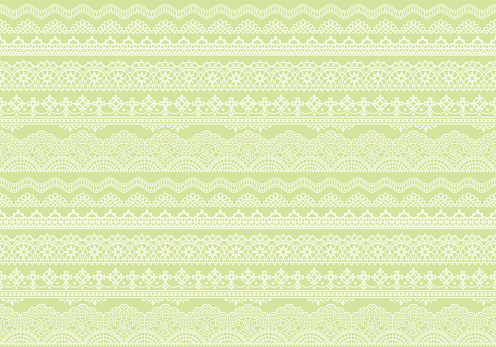 yellow green background of lace trims.