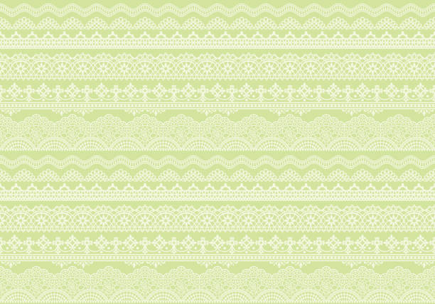 yellow green background of lace trims. - koronka stock illustrations