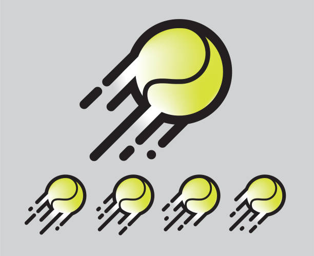 yellow green tennis ball Logo / Icon sports ball in motion with motion blur and lines vector art illustration
