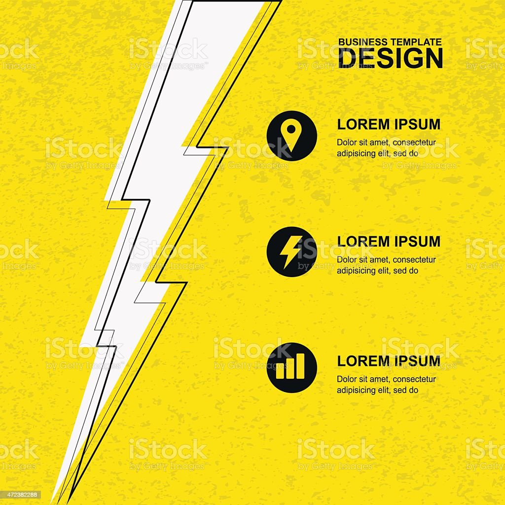 Yellow grunge texture background with black, white lightning and icons. vector art illustration