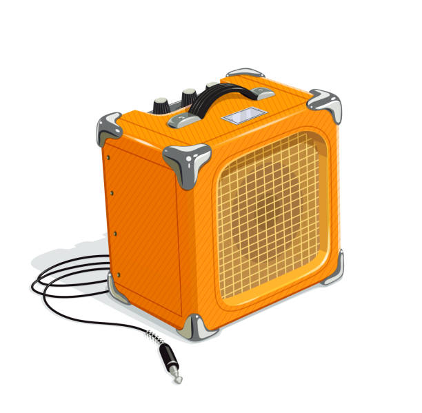 Yellow guitar combo amplifier with cord vector art illustration