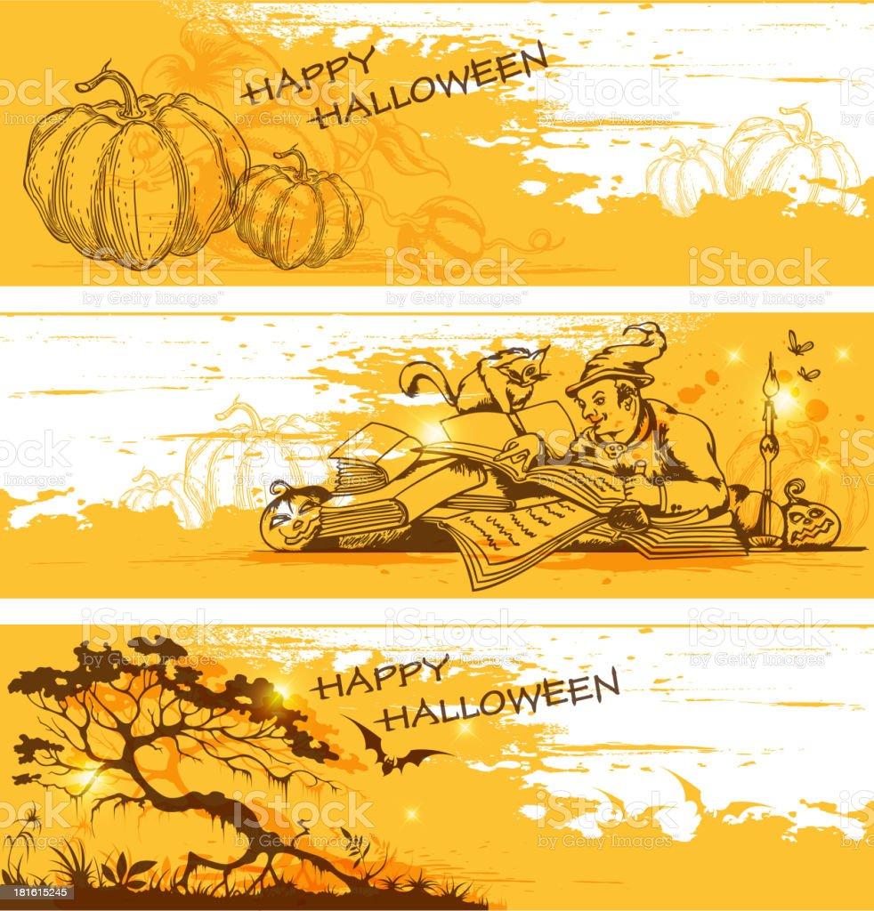 Yellow Halloween  banners royalty-free stock vector art