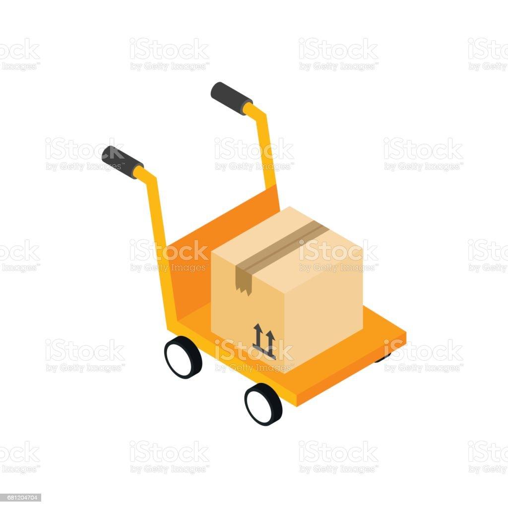 Chariot De Main Jaune Avec Licne Bote En Carton