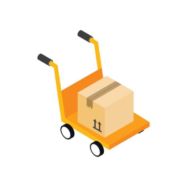 yellow hand cart with cardboard box icon - wózek transportowy stock illustrations