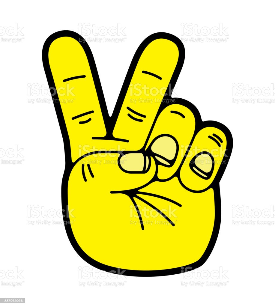 Yellow Hand Giving Peace Sign Symbol Stock Illustration
