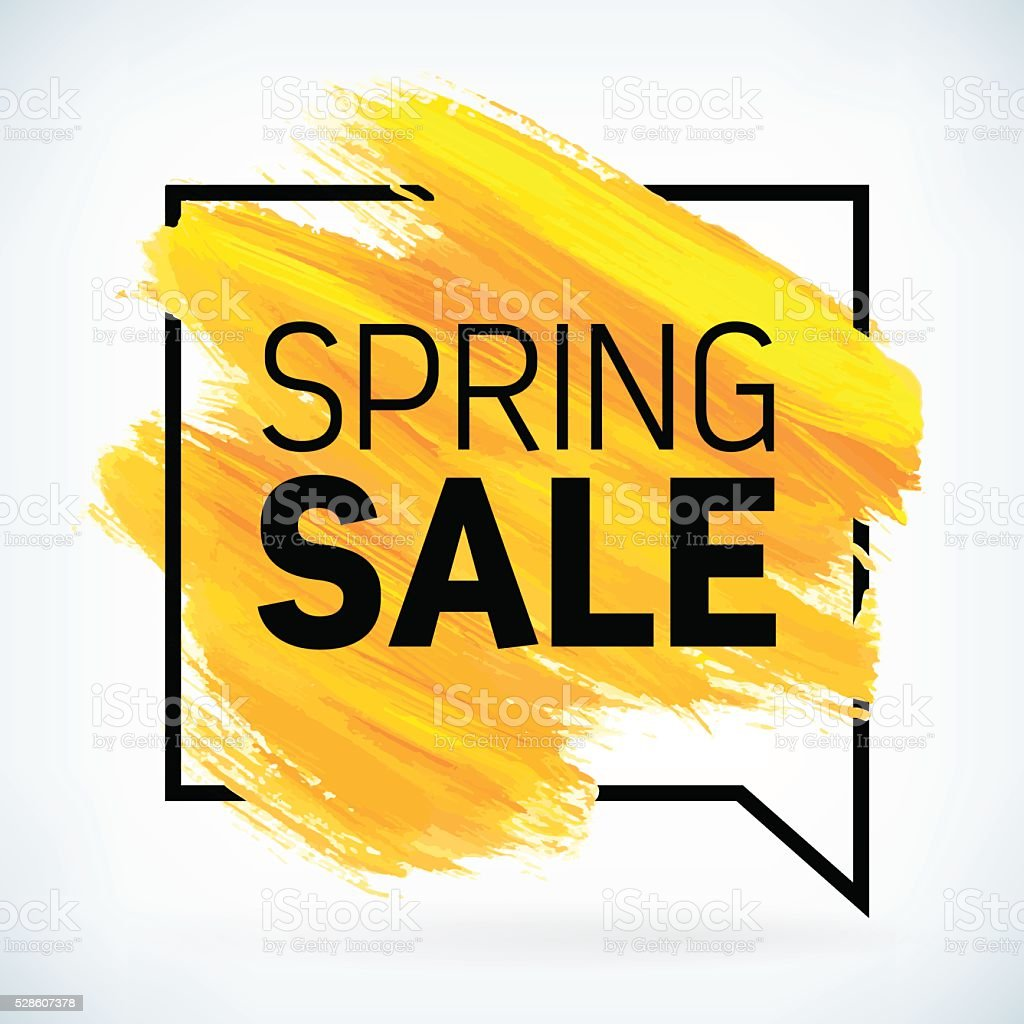 Yellow hand paint artistic dry brush stroke spring sale. vector art illustration