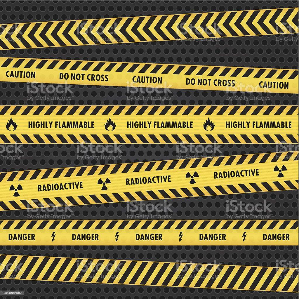 Yellow Hazard Warning Tapes vector art illustration