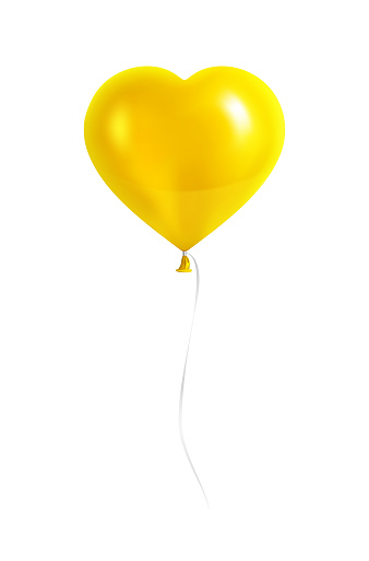 Yellow Heart Shaped Balloon with Silver Ribbon