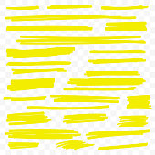 Yellow highlight marker lines or highlighter strokes vector isolated on transparent background