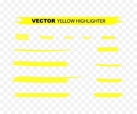 Yellow Highlighter Marker Strokes. Yellow watercolor hand drawn highlight set. Vector illustration.
