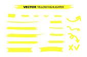 Yellow Highlighter Marker Strokes. Yellow watercolor hand drawn highlight set. Vector stock illustration