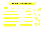 Yellow Highlighter Marker Strokes. Yellow watercolor hand drawn highlight set. Vector stock illustration