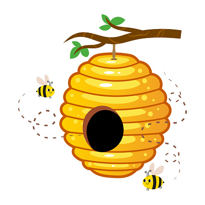Yellow honey hive with cute bees hanging on a tree branch vector image. Cartoon illustration isolated on white background