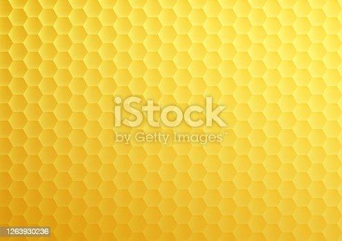 istock Yellow honeycomb hexagon texture 1263930236