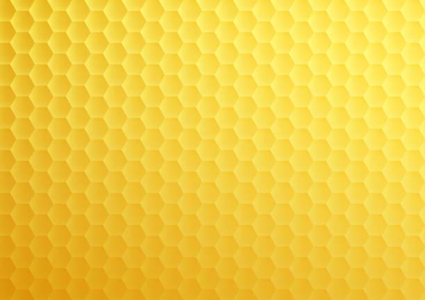 Yellow honeycomb hexagon texture vector art illustration