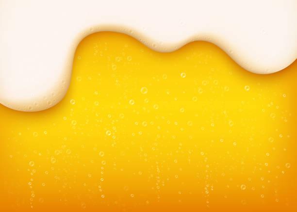 yellow horizontal beer background with white foam and bubbles. - предельно крупный план stock illustrations