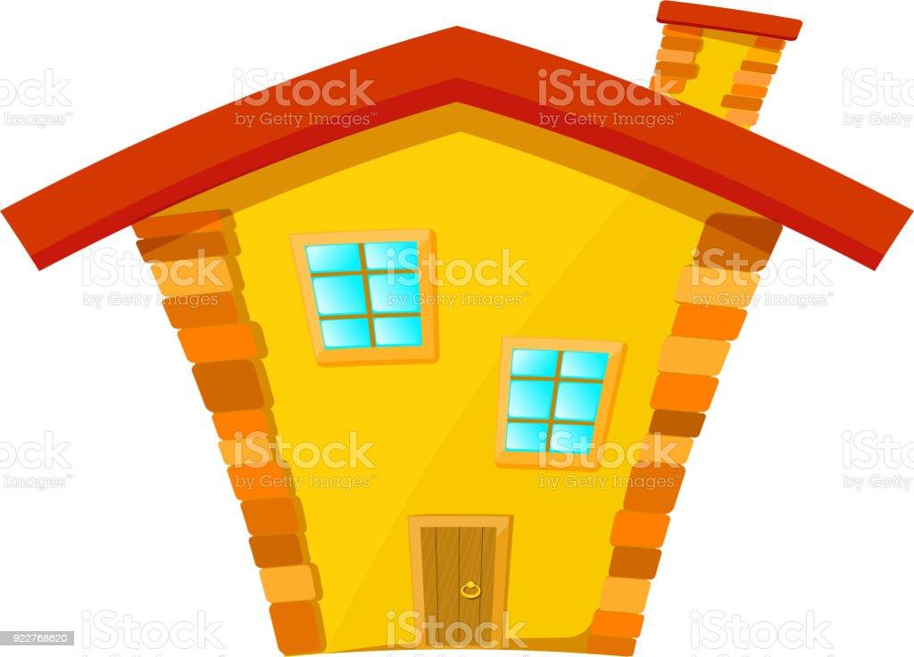 Maison jaune avec toit rouge isolé sur fond blanc dessin animé illustration vectorielle