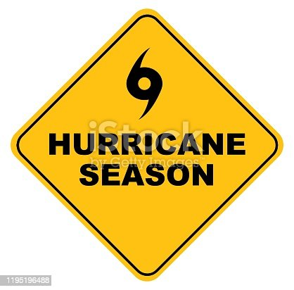 istock yellow hurricane season vector sign 1195196488