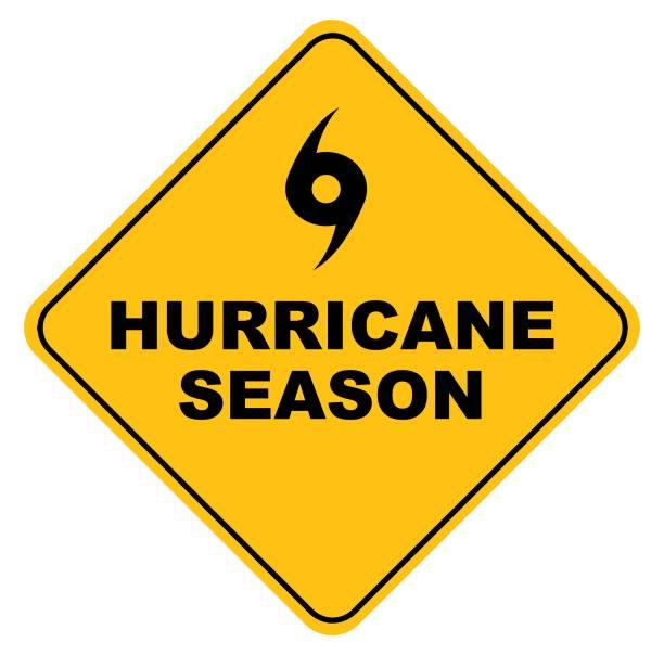 ilustraciones, imágenes clip art, dibujos animados e iconos de stock de signo vectorial de la temporada de huracanes amarillo - hurricane