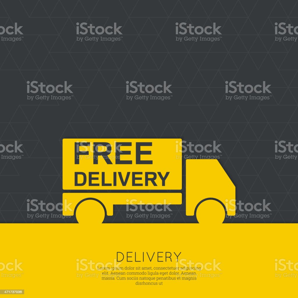 A yellow image of a delivery truck vector art illustration