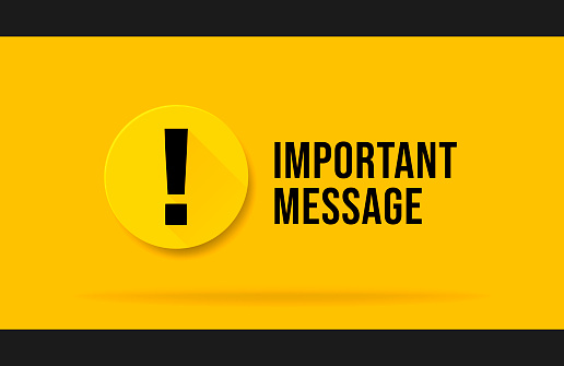 Yellow Important message popup. Attention please bubble isolated on white.