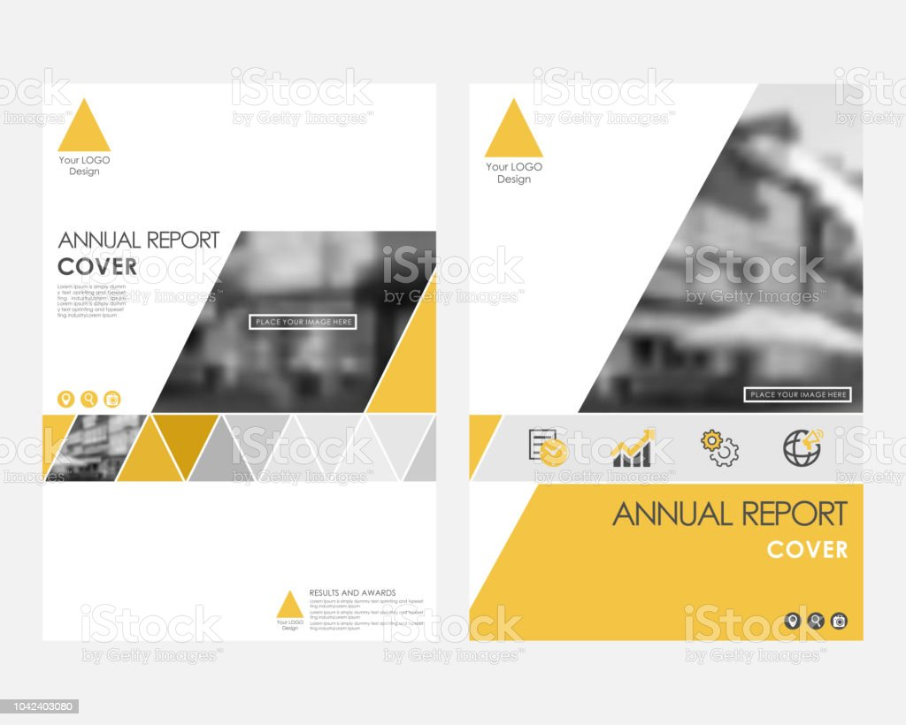 yellow infographic cover design template for annual report modern