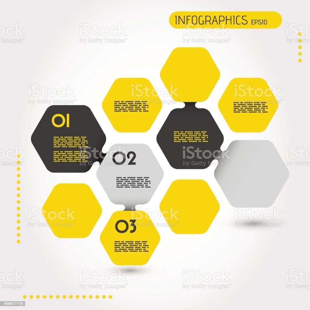 yellow infographic hexagonal template vector art illustration