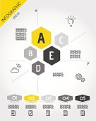 yellow infographic template with hexagons, fove options