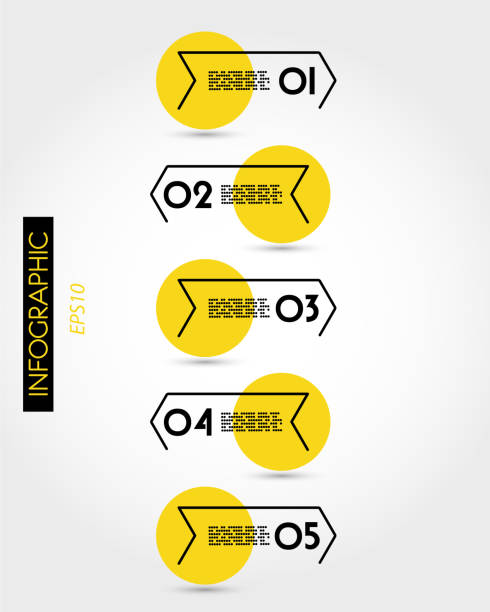 yellow infographic timeline with five arrow options - вертикальный stock illustrations