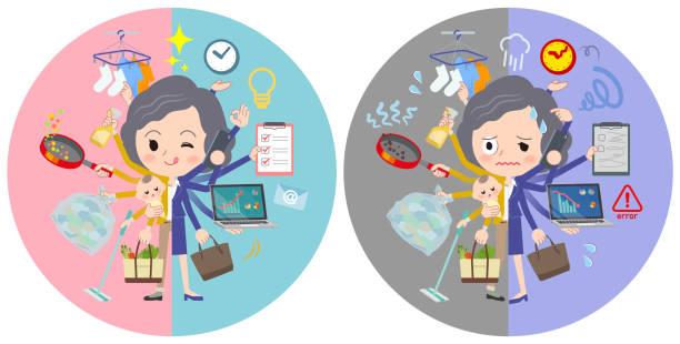 ilustrações de stock, clip art, desenhos animados e ícones de yellow jacket middle women_mulch task switch - fail cooking