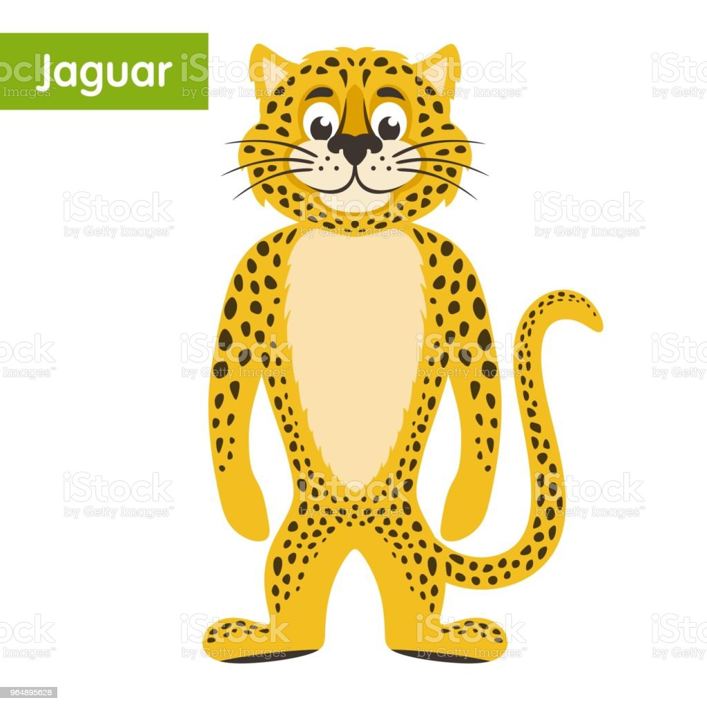 Yellow jaguar on a white background. royalty-free yellow jaguar on a white background stock vector art & more images of animal