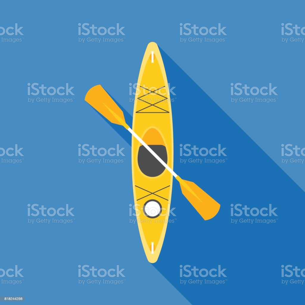 yellow kayak with paddle vector art illustration