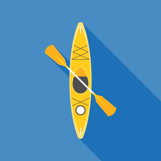 yellow kayak with paddle - kayaking stock illustrations, clip art, cartoons, & icons