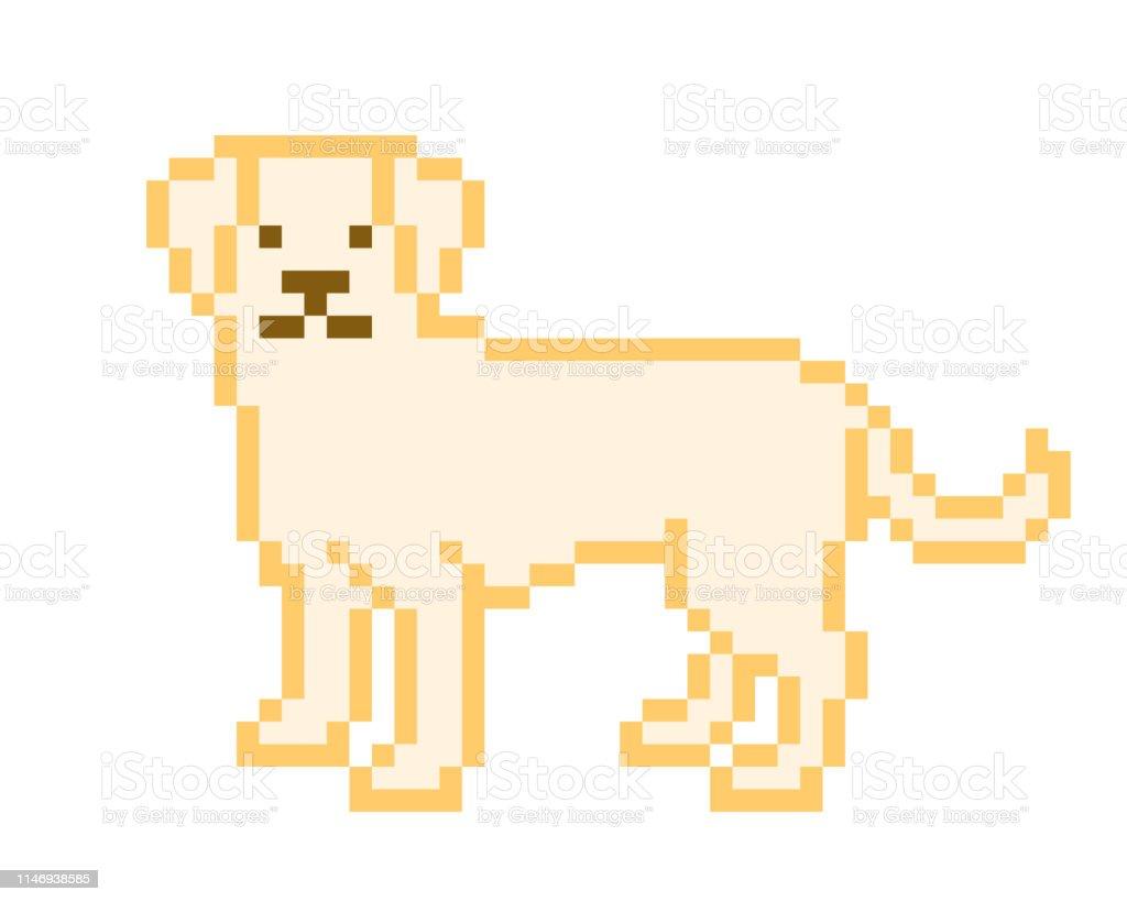 Jaune Labrador Retriever Debout Sur Le Sol Pixel Art