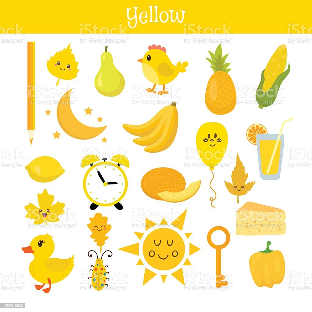 Yellow. Learn the color. Education set. Illustration vector art illustration