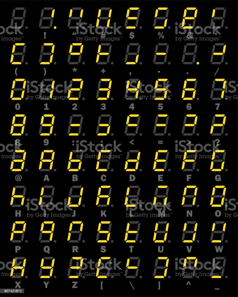 Yellow Led Digital Number And Alphabet Symbol Set Of Seven Segment The Each Into 7segment Display It May Look Like This Type On Black Background For