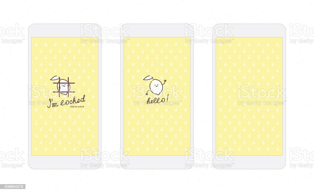 Yellow Lemon Iphone Wallpaper And Lock Screen Stock Vector Art