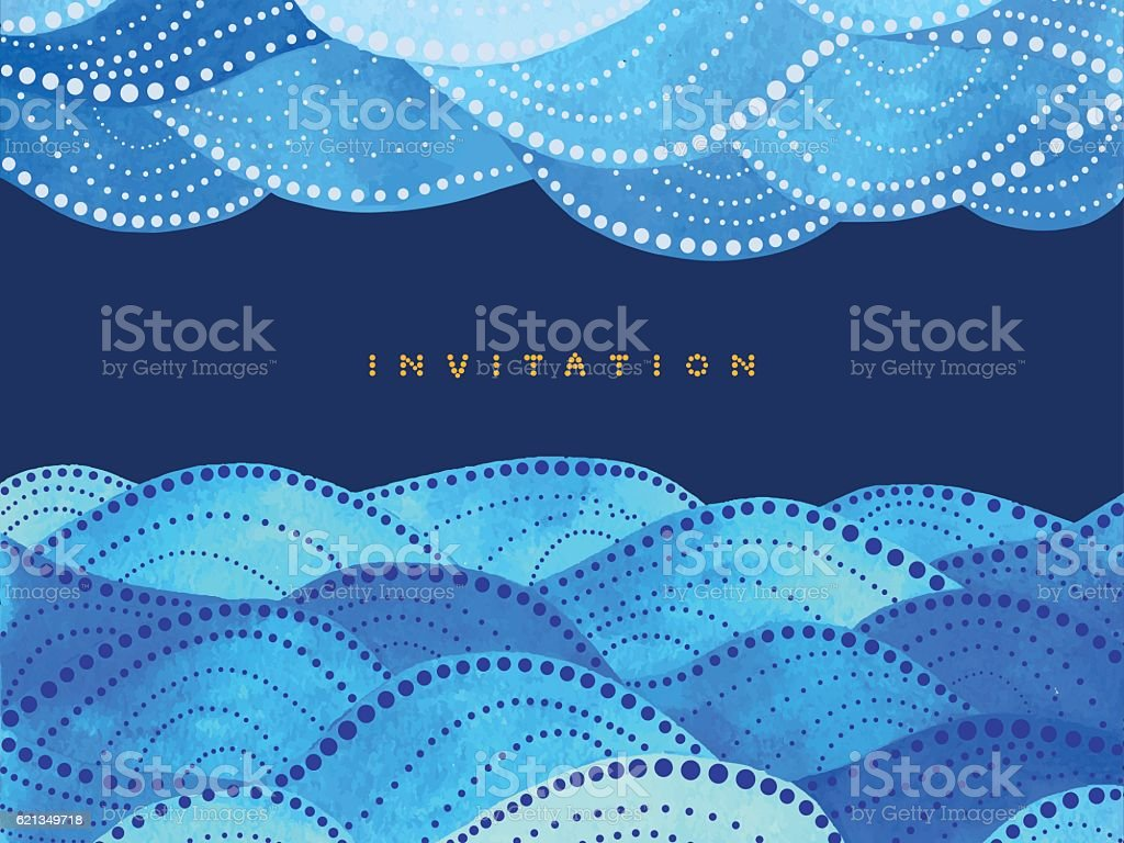 yellow lettering invitation with ornament vector art illustration