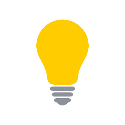 Yellow light bulb icon isolated on a white background.