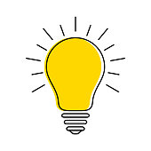 Yellow light bulb icon with rays, idea and creativity symbol, modern thin line art. Vector EPS 10