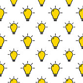 Vector seamless pattern of line art yellow light bulbs on a white background.