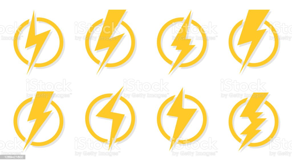 Yellow Lightning Bolt Icon Flash Circle Vector Set Stock Illustration Download Image Now Istock