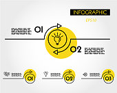 yellow linear infographic arc with ring, two options
