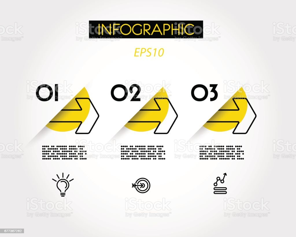 yellow linear infographic outline arrows vector art illustration