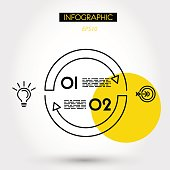 yellow linear infographics circle arcs,m two options