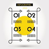 yellow linear infographics square with curves, four options