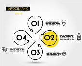 yellow linear roud infopgraphic template with icons