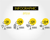 yellow linear simple infographic with curves, four options