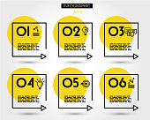 yellow linear square timeline elements