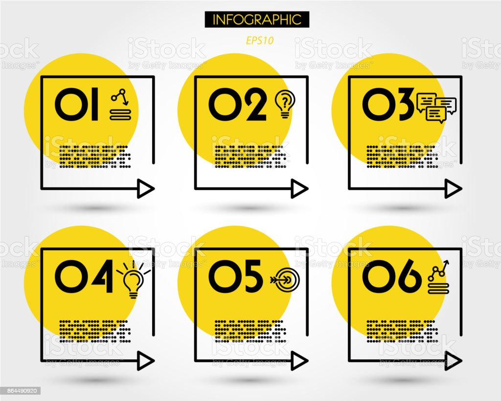 yellow linear square timeline elements - illustrazione arte vettoriale